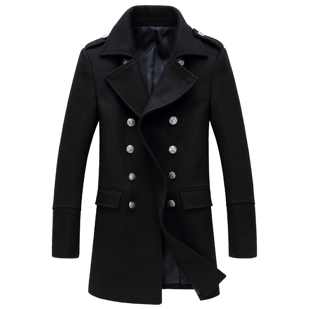 Shanghai Story 2018 hiver décontracté Double boutonnage manteau hommes col montant Slim Fit Long Trench manteau hommes laine pois manteau 2 couleurs - 6