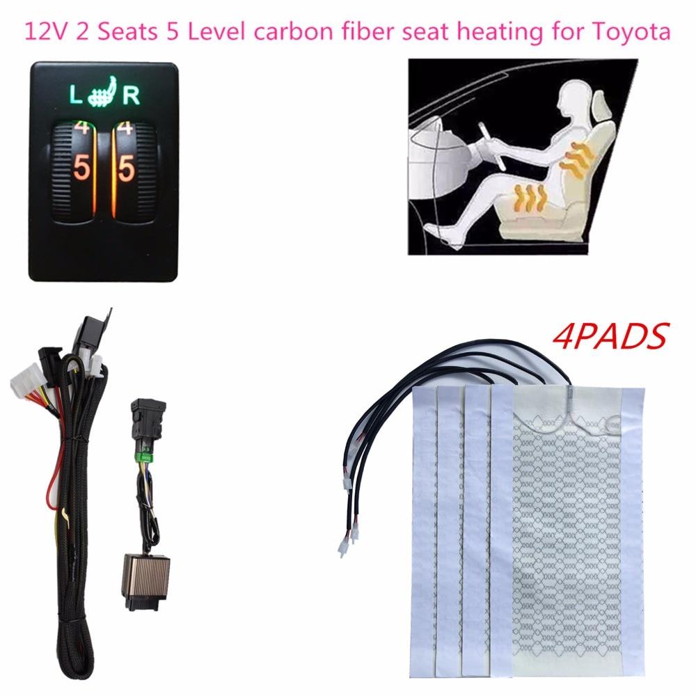 2 Seats 5 Level Switch Carbon Fiber Heated Seat Heater for Toyota cars Prado Corolla RAV4