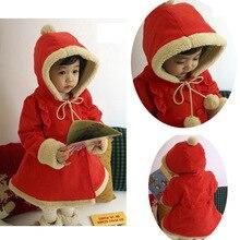 2016 новый рождественский ватные верхняя одежда мода новорожденных девочек с длинным рукавом красный жакет с капюшоном высокое качество девушки пальто 5 шт./лот