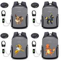 アニメポケモンピカチュウバックパック USB 充電盗難防止バッグ学生ランドセル男性トラベルノートパソコンのバックパック 20 スタイル