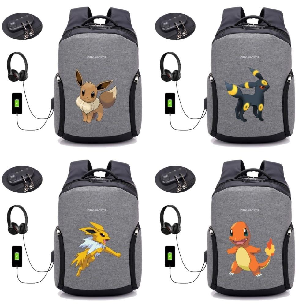 anime Pokemon Pikachu backpack USB Charging Anti-theft bag student bookbag men Travel Laptop backpack 20 style недорго, оригинальная цена