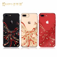 Newest KAVARO Red Phoenix Hard PC Diamond Case Cover For IPhone 7 7 Plus With Crystals