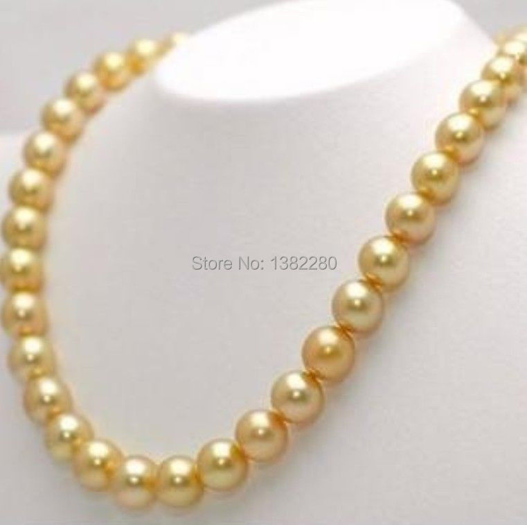 ! new Wholesale&retail 12mm Gold Sea Charming! Shell Pearl Necklace 25