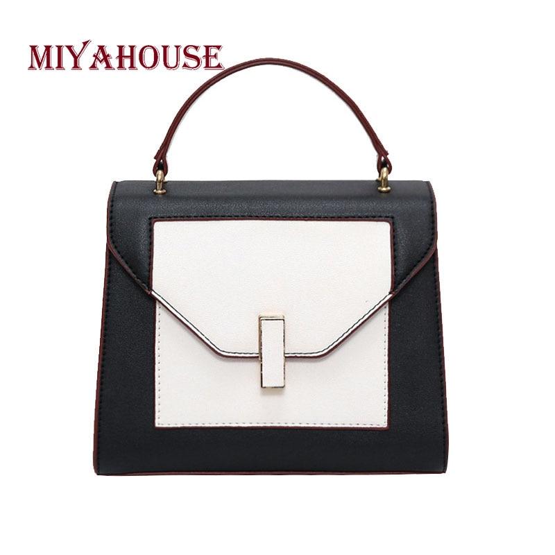 цена на Miyahouse Panelled PU Leather Shoulder Bag For Women Sweet Style Messenger Bag For Female High Quality Crossbody Bag For Women