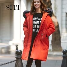 2017 Winter Women Hooded Coat Fur Collar Thicken Warm Long Jacket women's coat girls red long slim big fur coat jacket Down Park