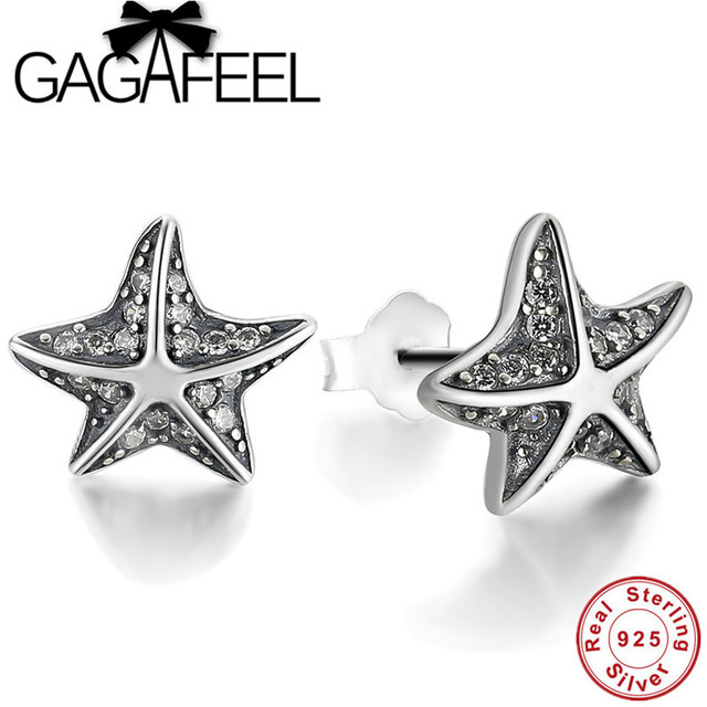 Gagafeel Trendy 925 Sterling Silver Starfish Earrings Women Jewelry Sparking Cubic Zirconia Stud Female Party