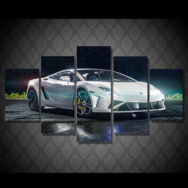 5 Pcs/Set Framed HD Printed White Sports Car Picture Wall Art Canvas Room  Decor