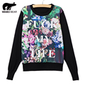 WAIBO BEAR New Arrival Big flower letters Printed Pullovers Cartoon Sweaters Women Autumn Casual Thin Knitted Sweater Sudaderas