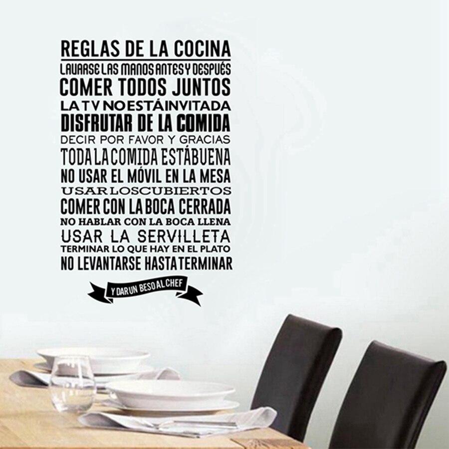 Spanish kitchen Rules Wall Stickers , DIY Vinyl Wall Decals Spanish Kitchen Wall Decor Free Shipping