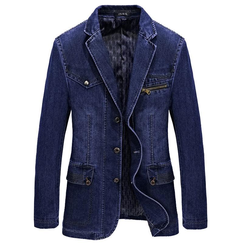 Brand Men Denim Blazer Jacket Spring Fashion Cotton Casual Suit Jackets Male Slim Fat Coat Blazer Men Blazer Masculino 3XL BF805