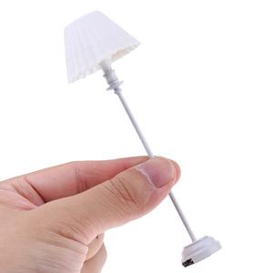 Image 2 - 1:12 1/6 maison de poupée Miniature décoration lampadaire LED modèle de lumière avec couvercle de lumière blanche