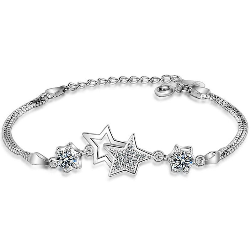 Bracelets & Bangles Bracelet For Women Star Charm Bracelet Five-pointed Star Shape Prong Setting Zircon Clear Purple Stone Chain Fashion Jewelry