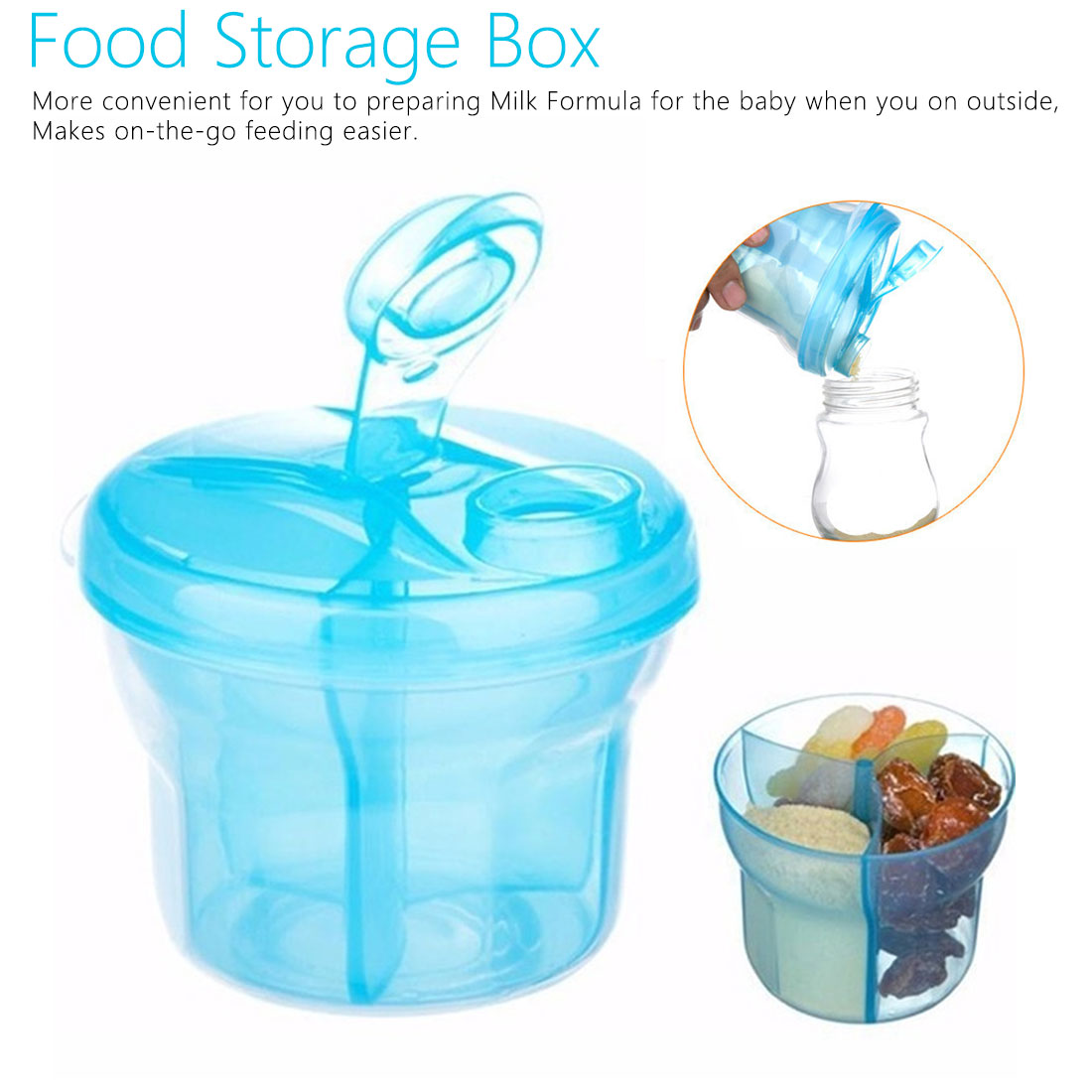 1PCS Baby Milk Powder Formula Dispenser Food Container Storage Feed Food Box 3 Layer Travel Portable Storage Box For Infant