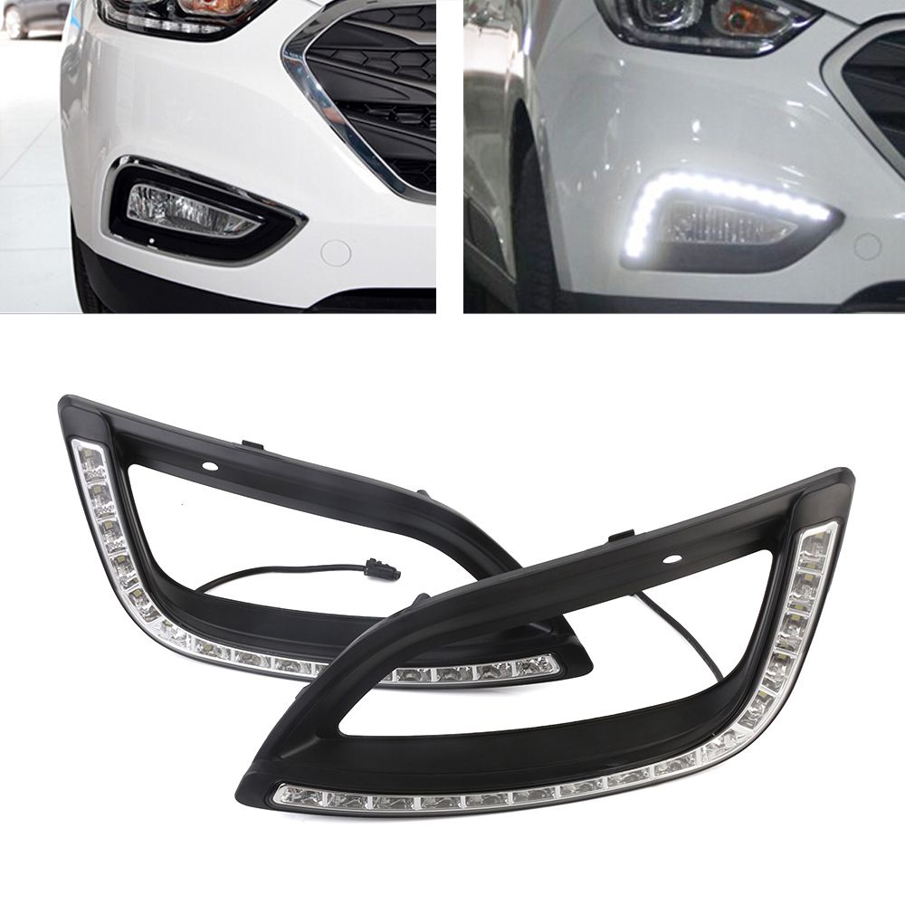 Auto Car LED White DRL Driving Daytime Running Light Fog Lamp Daylights For Hyundai IX35 2014-2017 2pcs Free Shipping D35 wljh 2x car led 7 5w 12v 24v cob chip 881 h27 led fog light daytime running lamp drl fog light bulb lamp for kia sorento hyundai