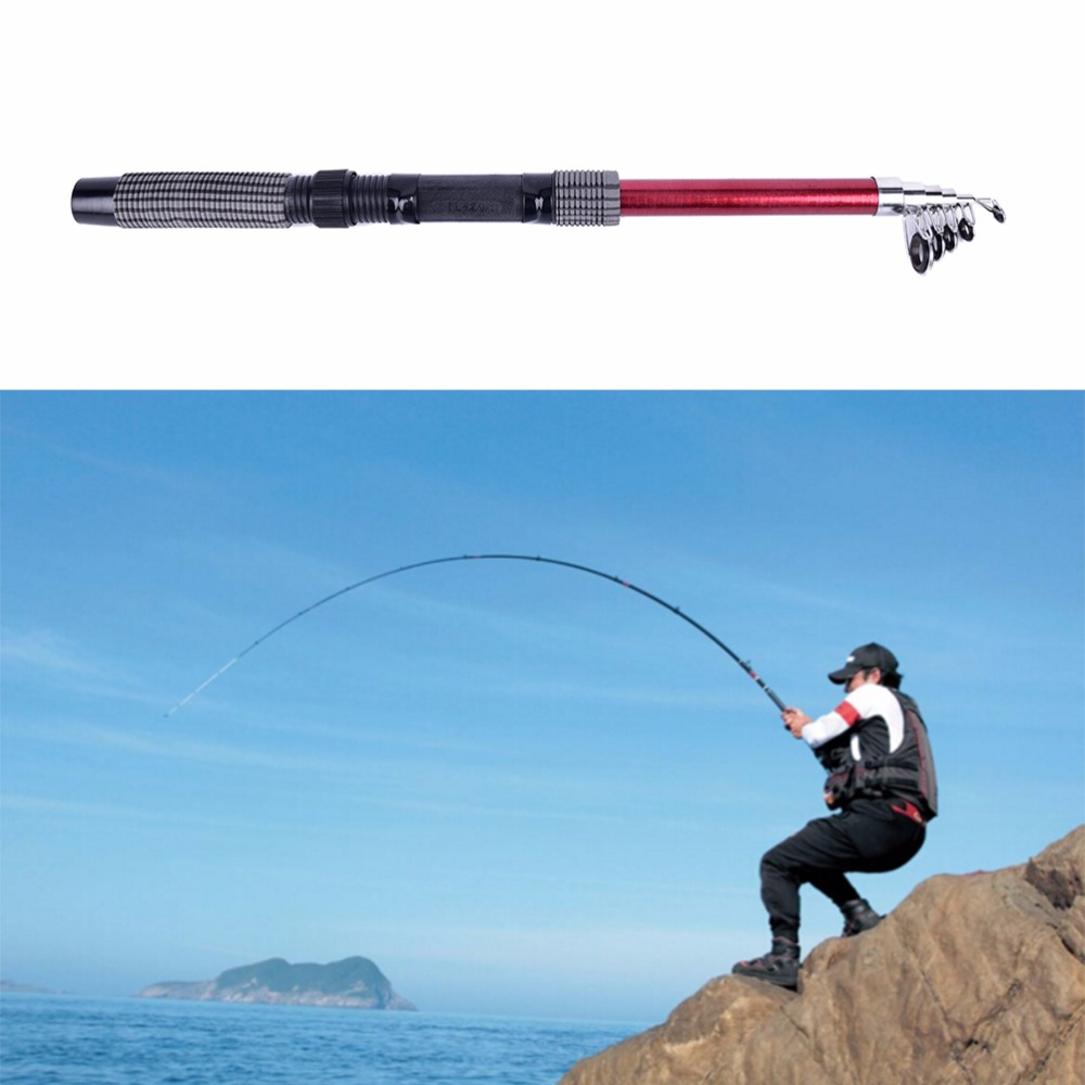 2.1m Hot Sale Professional Fiberglass Telescope Fishing Rod Travel Spinning Pole title=