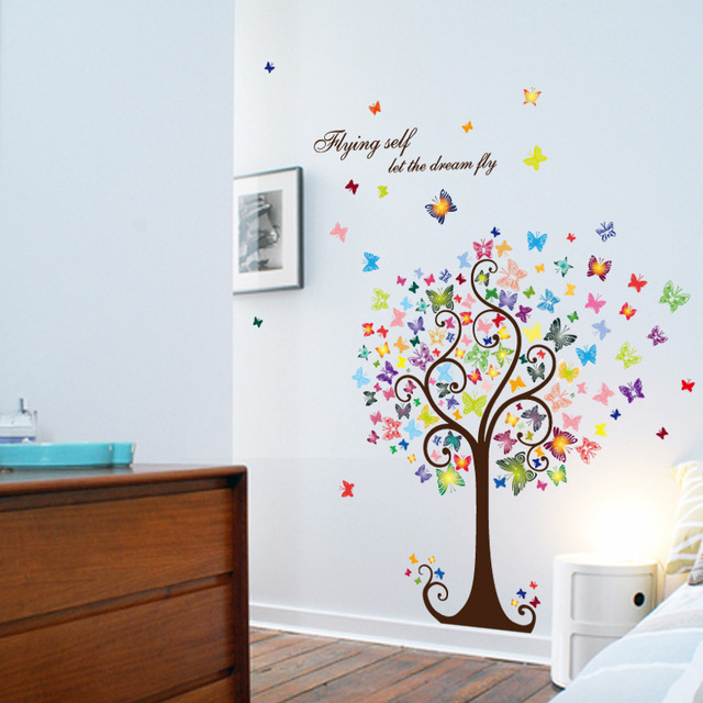 Tree colorful Butterflies Wall Stickers Decals Living Room Bedroom TV Sofa Background Decor Wall Decals Mural  sc 1 st  AliExpress.com & Tree colorful Butterflies Wall Stickers Decals Living Room Bedroom ...