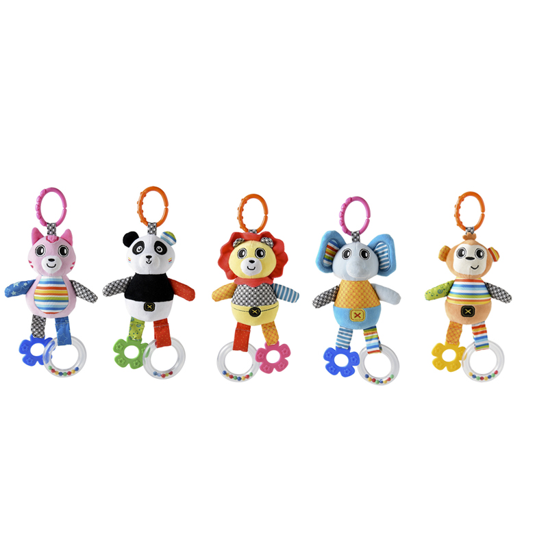 Baby Stroller Toys Bell Bed & Baby Stroller Hanging Bell Toys Baby Animal Music Educational Baby Rattle Styles Soft Toys Gift
