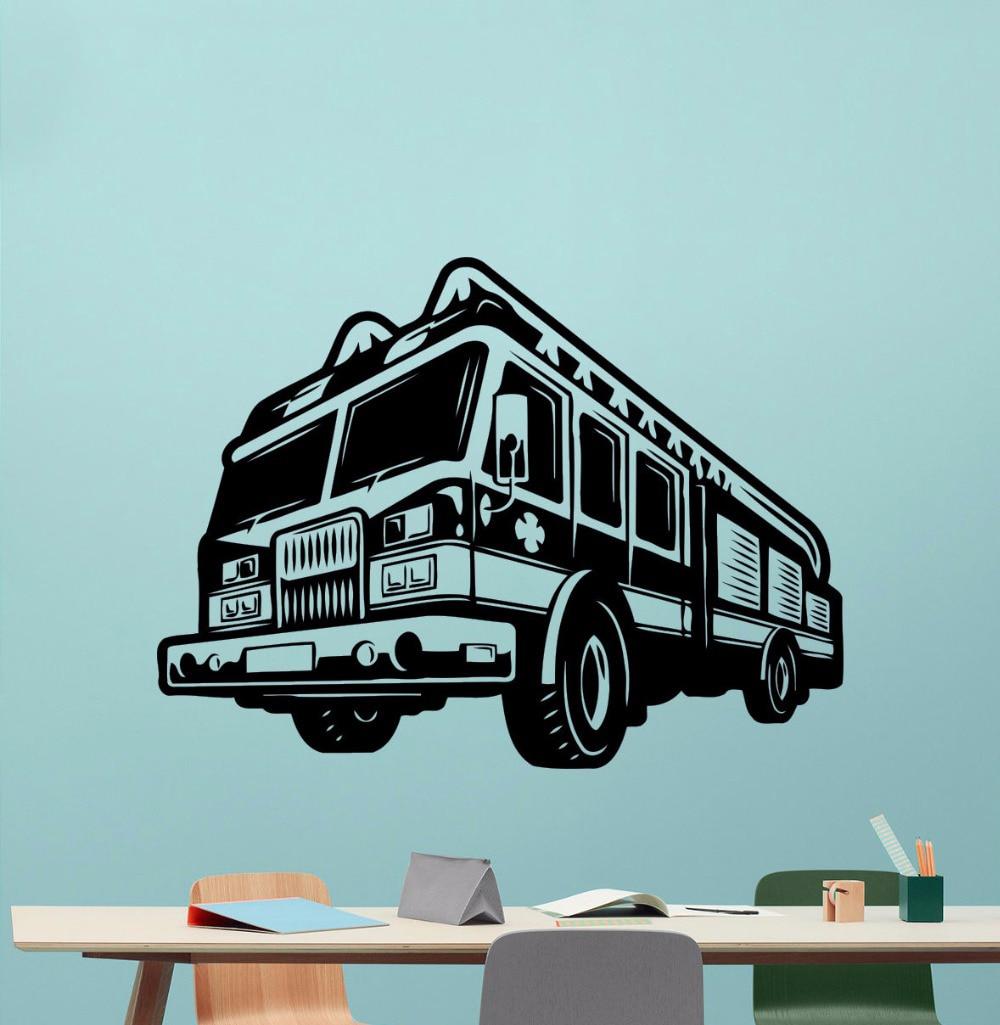 Us 497 26 Offfire Truck Removable Wall Sticker Fireman Style Wallpaper Firefighter Pattern Wall Decal Engine Car Poster Fire Car Mural Az254 In