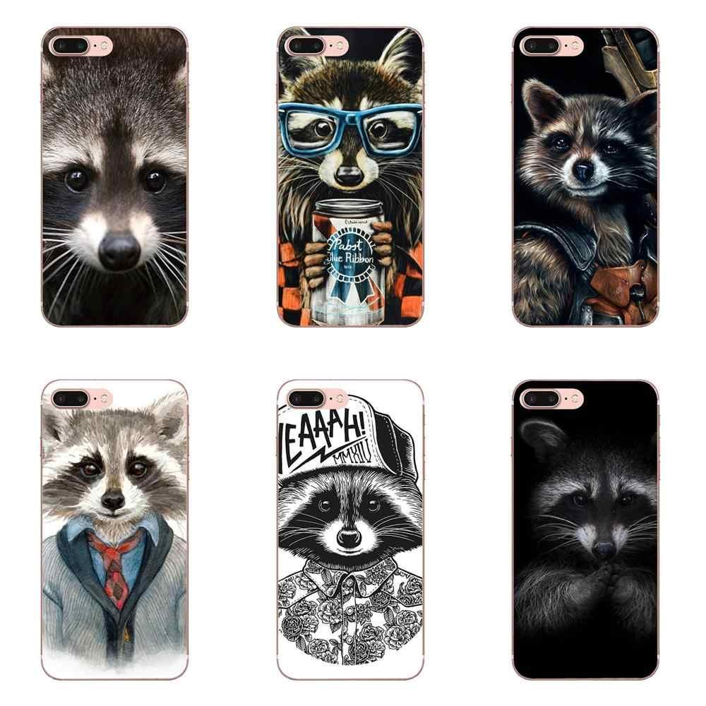 For Huawei Honor 4C 5A 5C 5X 6 6A 6X 7 7A 7C 7X 8 8C 8S 9 10 10i 20 20i Lite Pro Soft TPU Art Print Raccoon Art Print Dominant