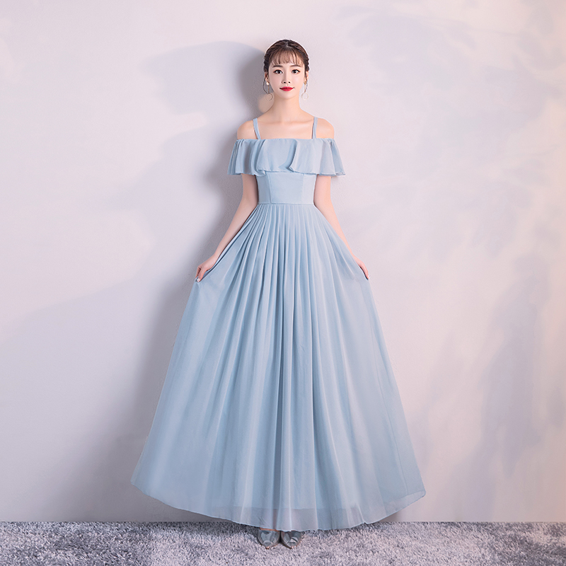 Women Wedding Party Dress  Bridemaid Dress  Blue Long Dress  Chiffon