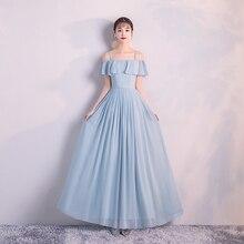 Women Wedding Party Dress  Bridemaid Blue Long Chiffon