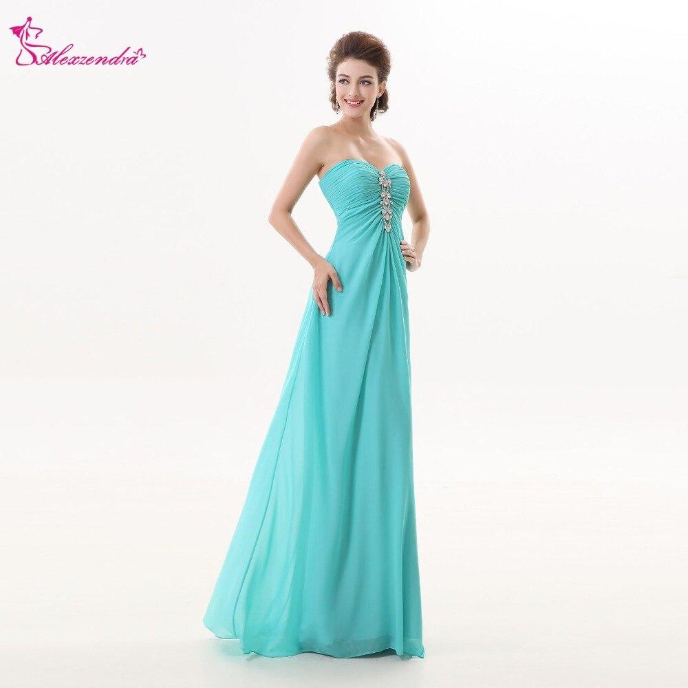 Alexzendra Blue Chiffon Beads Sweetheart Bridesmaid Dress for ...