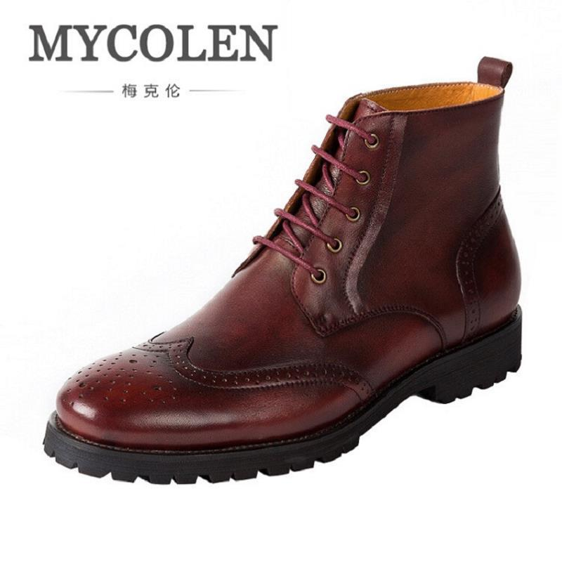 MYCOLEN New Fashion Genuine Leather Men Boots British Style Retro Ankle Martin Boots Lace-Up Leather Men Shoes Zapatos Hombre