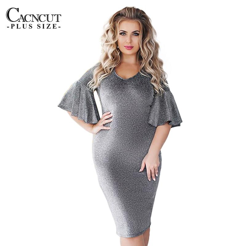 Evening Party Dress Women Clothing Sequin Plus size Dresses Ruffles Sleeve  Dress Sexy Bodycon 2018 Spring 784fd75b4baf