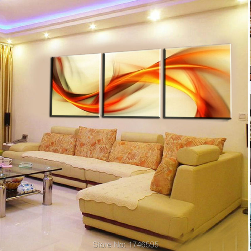 HD Print 3 pieces canvas abstract orange Wall Art Picture print ...