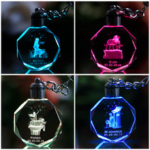 Zodiac Laser Engraved Crystal Ornaments Variable Colors LED Lighting Miniature Octagon Glass Crafts Home Decoration Accessories(China)