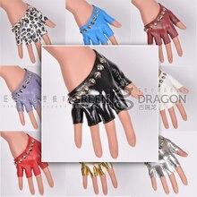 Женские Модные кожаные перчатки, Новое поступление, женские панковские перчатки с заклепками на половину пальца, ds костюм, стальная труба, джазовая перчатка