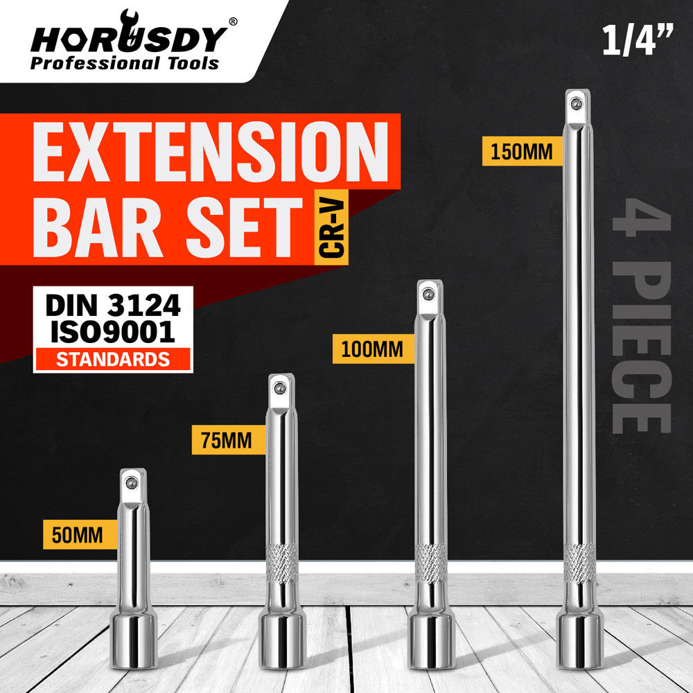 HORUSDY 4Pcs 1/4 Extender Bar Set Ratchet Wrench Socket 2 3 4 6 Drive Connecting Rod Power Tool Accessories