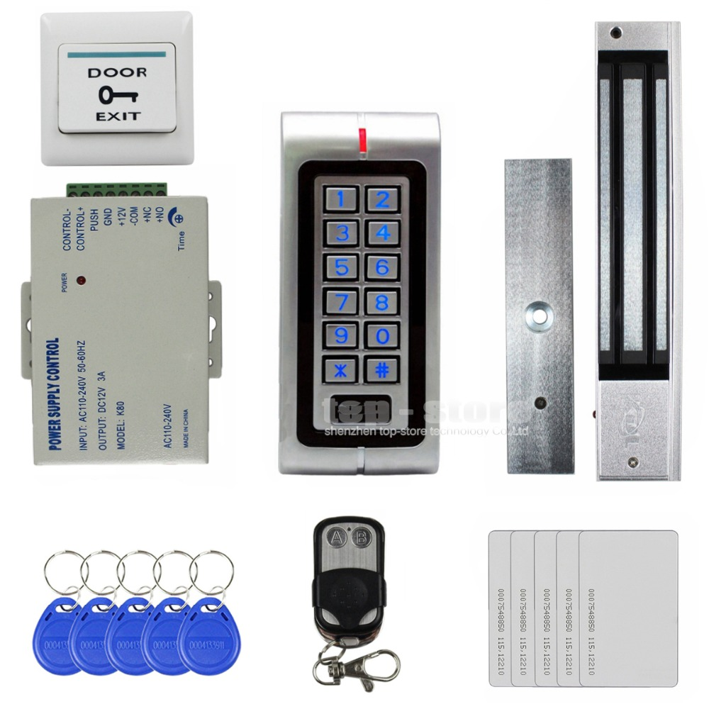 DIYSECUR 125KHz RFID Waterproof Metal Password Keypad Door Access Control System Kit + 280KG Waterproof Magnetic Lock  W1 diysecur 280kg magnetic lock 125khz rfid password keypad access control system security kit exit button k2