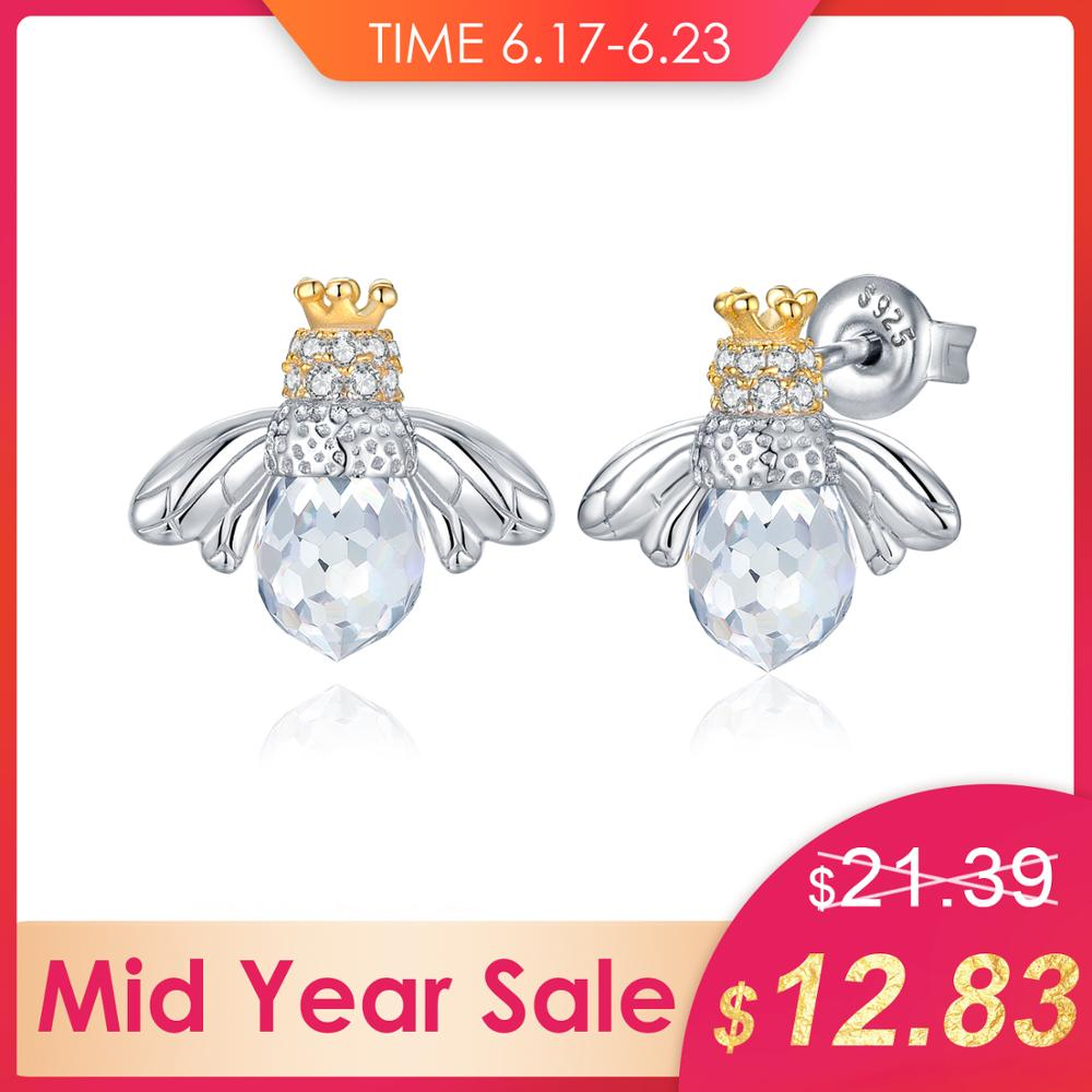 JewelryPalace 8ct Cubic Zirconia Crown Wing Honey Bee Stud Earrings 925 Sterling Silver Fine Jewelry Trendy Earrings For WomenJewelryPalace 8ct Cubic Zirconia Crown Wing Honey Bee Stud Earrings 925 Sterling Silver Fine Jewelry Trendy Earrings For Women
