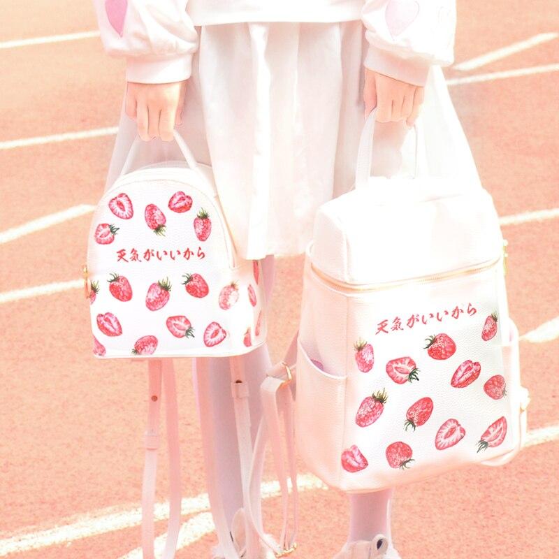 Impression Fraise Aorable Sac À Dos Femmes Nouvelle-Coréen Japonais Harajuku Ulzzang Lycée Étudiant Preppy Style Kawaii Sacs