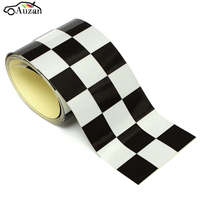 3 Black White Vinyl Checkered Flag Decal Tape Car Bike Motorcycle Tank Sticker