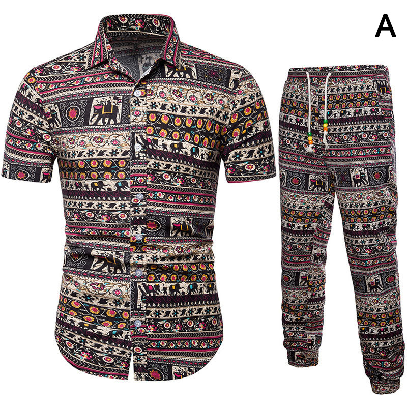 Men Tops With Pants Suit Linen Short Sleeves Breathable Casual Clothing Set For Summer QL Sale