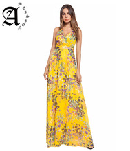 Ameision Bohemian style long dress Elegant fashion backless spaghetti strap print casual chiffon V-neck beach dresses vestidos