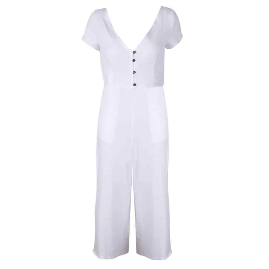 5dcd8a2644e ... Feitong Womens Jumpsuit Solid Sexy V-Neck Short Sleeve Long Playsuits  Wide Leg Trouser Jumpsuit ...