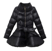 Cotton padded Clothes Female Coat 2017 Winter New Medium long Slim Pure color High collar Warm