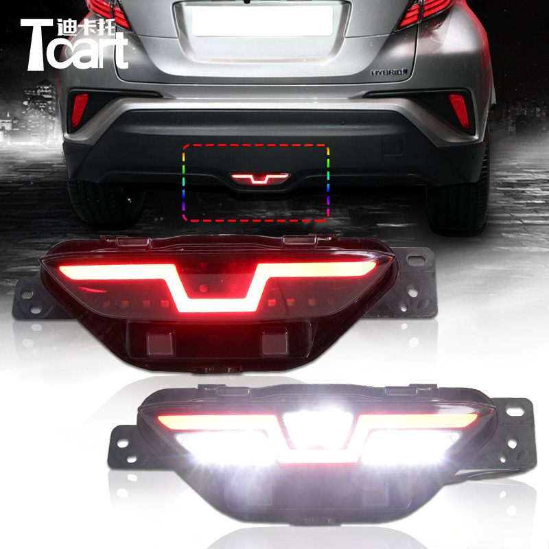 Tcart High Quality Auto Driving Brake Reverse Light Three Functions Car Rear Fog Lamp For Toyota C-HR CHR 2016 2017 Car Flashing car rear trunk security shield cargo cover for volkswagen vw tiguan 2016 2017 2018 high qualit black beige auto accessories