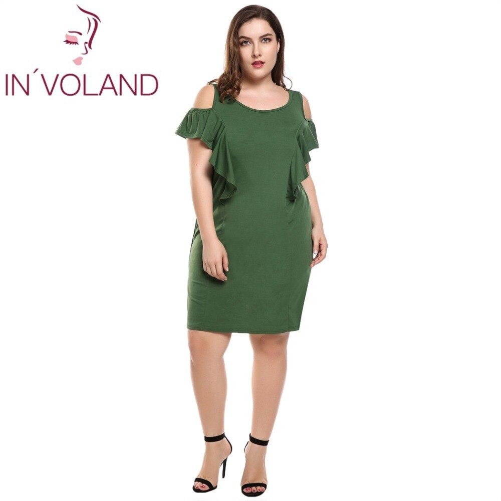 IN'VOLAND Femmes Robe Plus La Taille Sans Manches Cold Shoulder Ruches Maj Massif Réservoir Crayon Robes Feminino Robes Surdimensionné 4XL