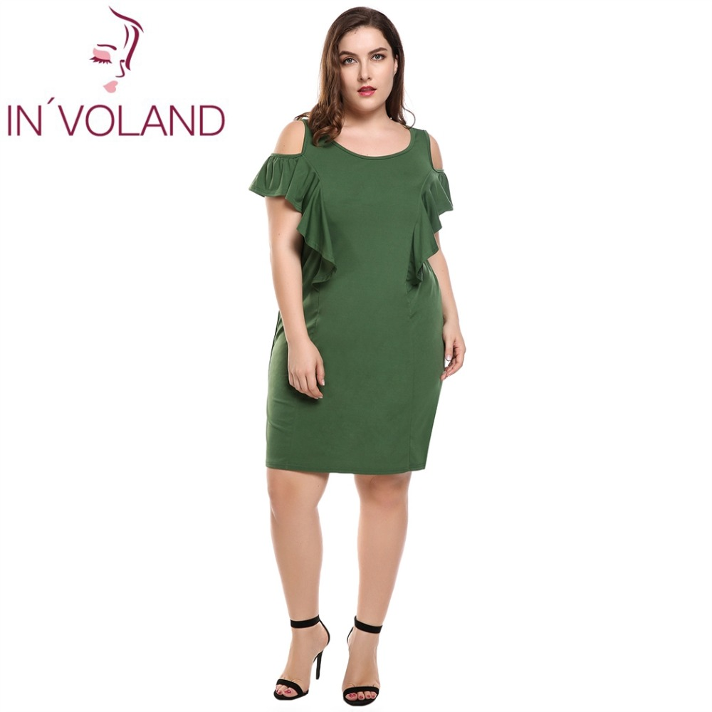 INVOLAND Womens Plus Size Summer Cold Shoulder Ruffle Sleeves Shift Dress