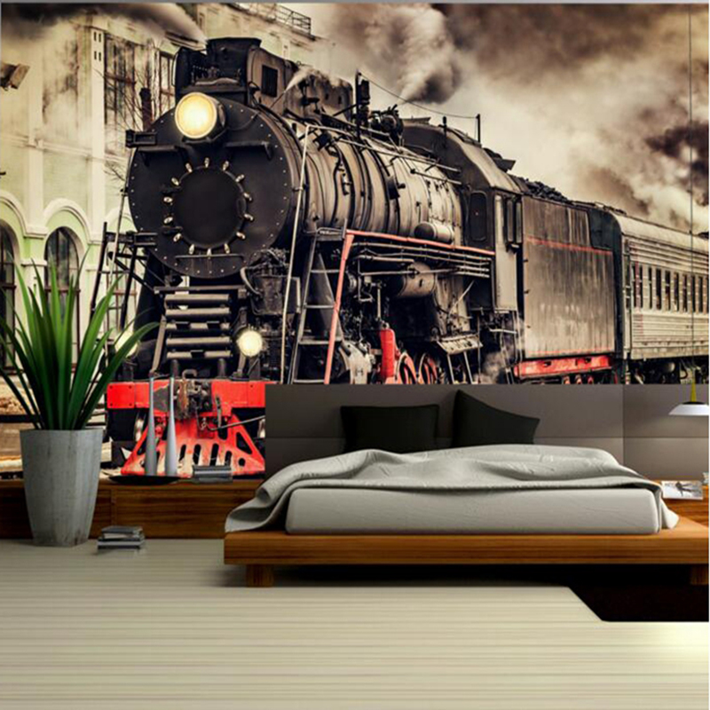 Retro Wallpaper Nostalgic Train Street View Wallpaper Scenes Wall Mural Artists Custom Photo Wallpaper Room Wall Art TV Room худи print bar mcmxcviii 1998