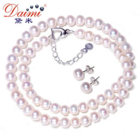 DMCSFP001 6-7MM Pearl Jewelry Sets Natural Pearl Real 925 Sterling Silver Pearl Earrings For Women