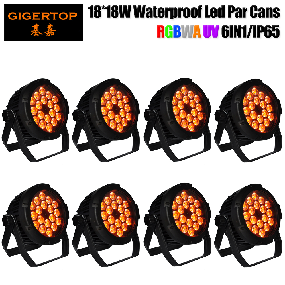 TIPTOP Stage Light 18x18W Mini Flat Waterproof Led Par Cans DJ Stage Light Equipment Floor Stand Hanging Bracket PWM dimming
