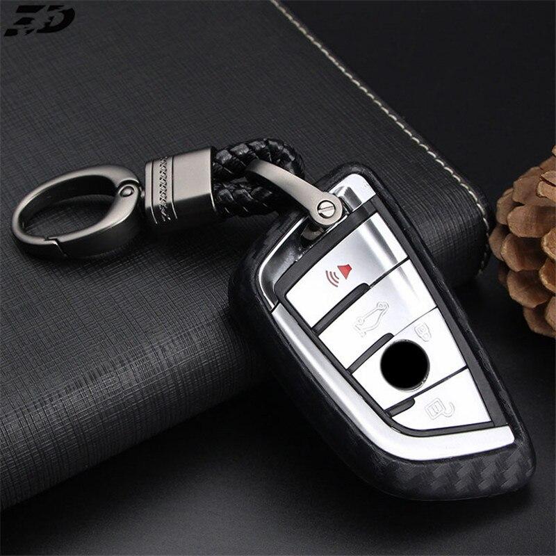 Inteligente de silicona de fibra de carbono coche caso clave para cubierta BMW X5 X6 F15 1, 2, 5, 7 Serie 218i x1 F48 X3 X4 540 BMW 740 para X5 clave