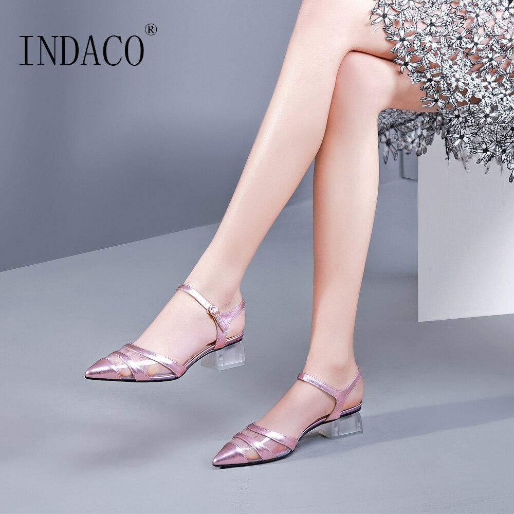 รองเท้าผู้หญิงรองเท้าส้นสูงปั๊มรองเท้าผู้หญิงปั๊ม 2019 ฤดูใบไม้ผลิโปร่งใสรองเท้าส้นสูง 3.5 ซม.-ใน รองเท้าส้นสูงสตรี จาก รองเท้า บน   1