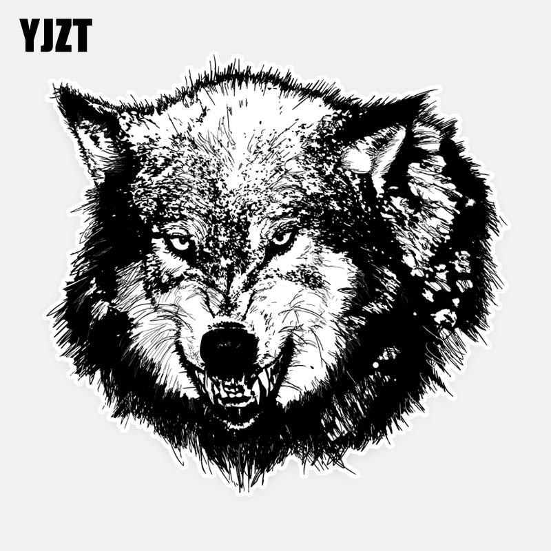 YJZT 16CM*15.3CM Hungry Wolf Bray Personality Car Window Sticker Decal 5-0914