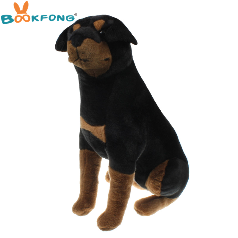 BOOKFONG 58CM Simulation Dobermann Dog Plush Toy Stuffed Plush Animal Dog Soft Puppy Great Gift for Children stuffed dog plush toys black dog sorrow looking pug puppy bulldog baby toy animal peluche for girls friends children 18 22cm